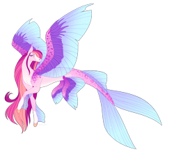 Size: 4250x3750 | Tagged: safe, artist:squishkitti, oc, oc only, alicorn, merpony, pony, seapony (g4), adoptable, dorsal fin, eyelashes, female, fins, fish tail, flowing mane, flowing tail, fusion, purple eyes, seaponified, simple background, smiling, solo, species swap, spread wings, tail, transparent background, wings