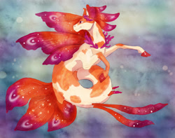Size: 1280x1011 | Tagged: safe, artist:xaotl, oc, oc only, merpony, seapony (g4), bubble, coral, crepuscular rays, fins, fish tail, flowing mane, flowing tail, jewelry, necklace, ocean, purple eyes, smiling, solo, swimming, tail, underwater, water