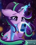 Size: 2400x3000 | Tagged: safe, artist:symbianl, starlight glimmer, pony, unicorn, cellphone, cheek fluff, clothes, cute, ear fluff, elbow fluff, glimmerbetes, hoof fluff, phone, solo, sweater, tummy fluff