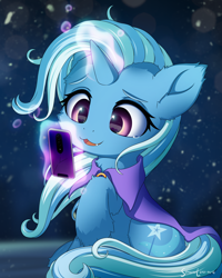 Size: 2400x3000   Tagged: safe, artist:symbianl, trixie, pony, unicorn, :3, cellphone, cheek fluff, cracked, cute, cute little fangs, diatrixes, ear fluff, elbow fluff, fangs, female, glowing horn, high res, hoof fluff, horn, magic, magic aura, mare, neck fluff, open mouth, open smile, phone, signature, smiling, snaggletooth, solo, telekinesis