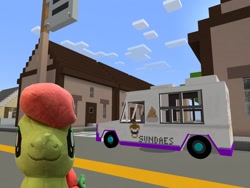 Size: 2048x1536   Tagged: safe, artist:topsangtheman, peachy sweet, earth pony, pony, apple family member, ice cream truck, looking at you, minecraft, our town, solo