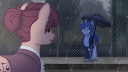 Size: 1920x1080 | Tagged: safe, artist:limedazzle, oc, oc only, oc:allen, oc:james, earth pony, pony, unicorn, clothes, rain, umbrella