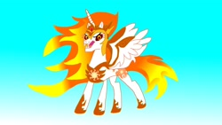 Size: 3264x1836 | Tagged: safe, daybreaker, princess celestia, alicorn, evil, gradient background, looking at you, solo, tyrant