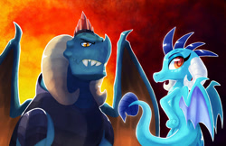 Size: 1280x829 | Tagged: safe, artist:talonsofwater, dragon lord torch, princess ember, dragon, colored pupils, dragoness, father and child, father and daughter, female, hand on hip, male, profile