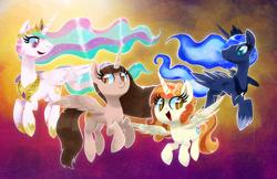 Size: 1280x829   Tagged: safe, artist:talonsofwater, princess celestia, princess luna, oc, alicorn, pony, alicorn oc, everfree northwest, horn, wings