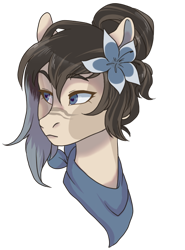 Size: 400x542 | Tagged: safe, artist:lavvythejackalope, oc, oc only, earth pony, pony, bust, earth pony oc, female, flower, flower in hair, mare, neckerchief, simple background, solo, transparent background