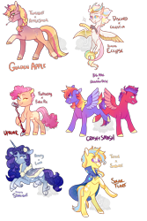 Size: 1000x1500 | Tagged: safe, artist:lavvythejackalope, oc, oc only, draconequus, earth pony, hybrid, pegasus, pony, unicorn, cape, clothes, cloven hooves, colored hooves, draconequus oc, earth pony oc, female, hoof fluff, horn, interspecies offspring, magical lesbian spawn, male, mare, microphone, offspring, one eye closed, parent:applejack, parent:big macintosh, parent:discord, parent:fluttershy, parent:pinkie pie, parent:princess celestia, parent:princess luna, parent:rainbow dash, parent:rarity, parent:sunburst, parent:trixie, parent:twilight sparkle, parents:dislestia, parents:flutterpie, parents:rainbowmac, parents:rariluna, parents:trixburst, parents:twijack, pegasus oc, raised hoof, rearing, smiling, stallion, straw in mouth, two toned wings, unicorn oc, wings, wink
