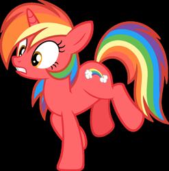 Size: 1024x1036 | Tagged: safe, artist:pegasski, oc, oc:fruity skittle, pony, unicorn, female, mare, simple background, solo, transparent background