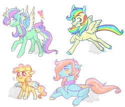 Size: 900x765 | Tagged: safe, artist:lavvythejackalope, oc, oc only, pony, colored hooves, colt, female, heart, magical lesbian spawn, male, mare, multicolored hair, offspring, parent:fluttershy, parent:rainbow dash, parents:flutterdash, rainbow hair, raised hoof, simple background, smiling, stallion, transparent background, two toned wings, wings