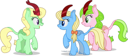 Size: 2711x1188 | Tagged: safe, artist:thatusualguy06, apple cider (character), apple honey, apple tarty, red gala, kirin, apple family member, atg 2021, female, high res, kirin-ified, looking at each other, mare, missing cutie mark, newbie artist training grounds, open mouth, raised hoof, simple background, species swap, transparent background, trio, trio female, vector