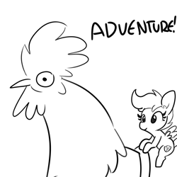 Size: 3000x3000 | Tagged: safe, artist:tjpones, scootaloo, bird, chicken, pegasus, pony, black and white, female, filly, giant animal, grayscale, macro, monochrome, riding, rooster, scootachicken, simple background, white background
