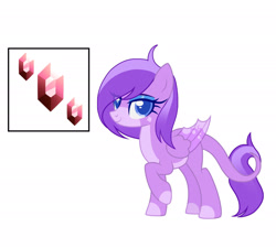 Size: 1920x1731   Tagged: safe, artist:thebunnylover92, oc, oc:violet, dracony, hybrid, cutie mark, female, folded wings, gem, interspecies offspring, looking at you, offspring, parent:rarity, parent:spike, parents:sparity, simple background, solo, white background, wings