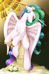 Size: 1800x2700 | Tagged: safe, artist:darksly, princess celestia, alicorn, pony, atg 2021, female, floppy ears, flower, flower in hair, head turned, high res, looking at you, mare, newbie artist training grounds, profile, puller, sitting, solo, spread wings, thorns, wings