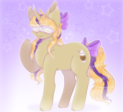 Size: 1200x1100   Tagged: safe, oc, oc:mocha fizz, pony, unicorn, bow, commission, cute, food, ice cream, ponytail, stars