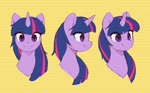 Size: 2728x1684 | Tagged: safe, artist:orchidpony, twilight sparkle, unicorn, bust, different angles, portrait, practice, simple background, smiling, solo