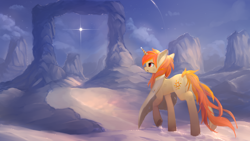 Size: 2560x1440   Tagged: safe, artist:ssnerdy, oc, oc only, oc:arcane flame, pony, unicorn, clothes, commission, open mouth, raised hoof, scenery, solarflareseries, solo, stars