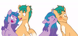 Size: 5808x2730 | Tagged: safe, artist:chub-wub, hitch trailblazer, izzy moonbow, earth pony, pony, unicorn, g5, blaze (coat marking), blushing, cheek kiss, chest fluff, chin fluff, coat markings, eyes closed, facial markings, female, floppy ears, high res, izzyhitch, kissing, looking at each other, male, mare, one eye closed, open mouth, pale belly, raised hoof, shipping, simple background, socks (coat markings), stallion, straight, white background