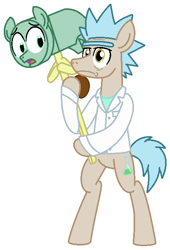 Size: 448x659 | Tagged: safe, artist:vgc2001, pony morty, pony rick, earth pony, pony, spoiler:s08e05, clothes, erlenmeyer flask, flask, foal, fortnite, hammer, lab coat, male, morty smith, ponified, reference, rick and morty, rick sanchez, stallion, worried