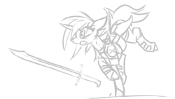 Size: 785x443 | Tagged: safe, artist:fenixdust, oc, unicorn, armor, explicit source, female, horn, magic, sketch, solo, solo female, sword, unicorn oc, weapon