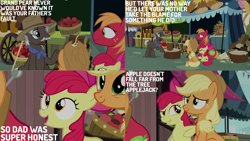 Size: 2000x1125 | Tagged: safe, edit, edited screencap, editor:quoterific, screencap, apple bloom, applejack, big macintosh, earth pony, pony, season 7, the perfect pear, apple bloom's bow, applejack's hat, bow, cowboy hat, female, hair bow, hat, male, mare, open mouth, smiling, stallion