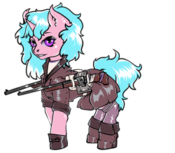 Size: 796x696   Tagged: safe, artist:leastways, oc, oc only, oc:dub step, unicorn, fallout equestria, battle saddle, boots, clothes, coat, commission, fanfic art, gloves, gun, hat, rifle, shoes, simple background, sketch, skirt, solo, superhero costume, top hat, transparent background, weapon