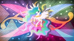Size: 3840x2160   Tagged: safe, artist:laszlvfx, artist:negatif22, edit, princess celestia, pony, solo, wallpaper, wallpaper edit