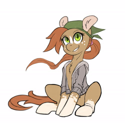 Size: 2076x2040   Tagged: safe, artist:hobbes-maxwell, oc, oc only, earth pony, pony, clothes, female, hoodie, looking at you, sitting, transgender