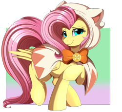 Size: 3487x3209   Tagged: safe, artist:pridark, fluttershy, pegasus, pony, cat hoodie, clothes, crossover, cute, daaaaaaaaaaaw, digital art, female, final fantasy, high res, hoodie, looking at you, mare, patreon, patreon reward, raised hoof, ribbon, shyabetes, simple background, smiling, smiling at you, solo, white mage