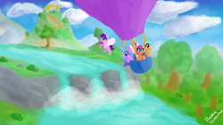 Size: 3840x2160   Tagged: safe, artist:llamalauncher, hitch trailblazer, izzy moonbow, pipp petals, sunny starscout, zipp storm, earth pony, pegasus, pony, unicorn, g5, balloon, cloud, female, flying, grass, high res, hot air balloon, male, mane five (g5), mountain, river, sky, tree, water, waterfall