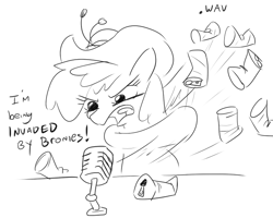 Size: 644x516 | Tagged: safe, artist:jargon scott, berry punch, berryshine, earth pony, pony, beer can, black and white, female, grayscale, mare, microphone, monochrome, simple background, solo, white background