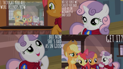 Size: 2000x1125 | Tagged: safe, edit, edited screencap, editor:quoterific, screencap, apple bloom, applejack, babs seed, scootaloo, sweetie belle, earth pony, pegasus, pony, unicorn, one bad apple, season 3, apple bloom's bow, applejack's hat, bow, cape, clothes, cmc cape, cowboy hat, cutie mark crusaders, eyes closed, female, filly, friendship express, hair bow, hat, mare, open mouth, train station