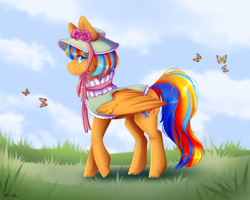 Size: 2500x2000   Tagged: safe, artist:darklu, oc, oc only, oc:cold front, butterfly, pegasus, pony, bow, cloud, colored pupils, commission, crossdressing, day, freckles, grass, hat, high res, looking at you, male, outdoors, pegasus oc, raised hoof, smiling, smiling at you, solo, stallion, wings, ych result