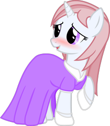 Size: 2579x2949   Tagged: safe, artist:cranberry-tofu, oc, oc:whisper call, pony, unicorn, blushing, clothes, dress, female, high res, mare, simple background, solo, transparent background