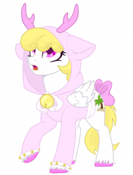 Size: 700x914   Tagged: safe, oc, oc:sweetie heartcloud, pegasus, antlers, bell, clothes, cutie mark, hoodie, hoof fluff, mane, pegasus oc, ribbon, solo