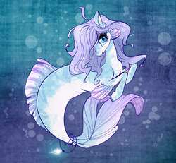 Size: 1280x1183 | Tagged: safe, artist:opalacorn, oc, oc only, seapony (g4), blue background, blue eyes, bubble, dorsal fin, eyelashes, female, fins, fish tail, flowing mane, flowing tail, looking at you, purple mane, signature, simple background, smiling, solo, tail, underwater, water, wingding eyes