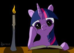 Size: 1920x1358 | Tagged: safe, artist:darkdabula, twilight sparkle, book, candle, night, reading, solo