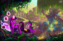 Size: 4481x2920 | Tagged: safe, artist:jowybean, spike, twilight sparkle, alicorn, dragon, pony, bag, duo, female, flying, forest, glowing horn, high res, horn, looking at each other, magic, magic aura, male, mare, open mouth, open smile, saddle bag, smiling, smiling at each other, telekinesis, tree, twilight sparkle (alicorn), winged spike, wings
