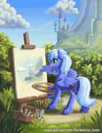Size: 1500x1963 | Tagged: safe, artist:kirillk, princess luna, alicorn, pony, canterlot, canterlot castle, canterlot mountain, canvas, castle, easel, grass, paint, painting, plants, s1 luna, scenery, sky, solo, tongue out