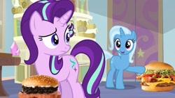 Size: 1280x720 | Tagged: safe, artist:heyitshayburgers, edit, edited screencap, screencap, starlight glimmer, trixie, pony, unicorn, student counsel, burger, cheeseburger, female, food, hamburger, mare, spam oreo burger
