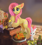 Size: 1280x1370 | Tagged: safe, artist:aristocatdraws, angel bunny, fluttershy, pegasus, pony, rabbit, abacus, angel is a bunny bastard, animal, barrel, bipedal, bits, carrot, cobblestone street, counter, crate, cropped, crossed arms, cute, daaaaaaaaaaaw, duo, female, floppy ears, flower, folded wings, food, grin, looking at someone, mare, market, money bag, outdoors, quill, raised hoof, shopping, shyabetes, smiling, stray strand, three quarter view, vegetables, wings