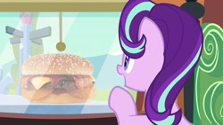 Size: 1280x720 | Tagged: safe, artist:heyitshayburgers, edit, edited screencap, screencap, starlight glimmer, the crystalling, burger, cheeseburger, food, hamburger, western bacon cheeseburger
