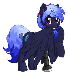 Size: 2090x2278   Tagged: safe, artist:stardustspix, oc, oc only, oc:kyanite arc, pegasus, pony, amputee, blushing, choker, cute, ear fluff, ears, gem, grin, high res, looking at you, male, ocbetes, pegasus oc, prosthetic leg, prosthetic limb, prosthetics, raised hoof, simple background, smiling, smiling at you, solo, stallion, transparent background