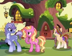 Size: 739x575 | Tagged: safe, artist:sia.brony, luster dawn, oc, alicorn, pony, unicorn, alicorn oc, betrayal, braid, canon x oc, crying, eyelashes, female, horn, looking back, male, mare, open mouth, outdoors, raised hoof, stallion, two toned wings, unicorn oc, wings