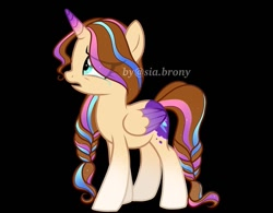 Size: 781x610 | Tagged: safe, alternate version, artist:sia.brony, oc, oc only, alicorn, pony, unicorn, alicorn oc, background removed, black background, braid, crying, eyelashes, female, horn, mare, open mouth, sad, simple background, solo, two toned wings, wings