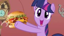 Size: 1280x723 | Tagged: safe, artist:heyitshayburgers, edit, edited screencap, screencap, twilight sparkle, pony, unicorn, owl's well that ends well, burger, cheeseburger, food, hamburger, solo, twilight burgkle, unicorn twilight
