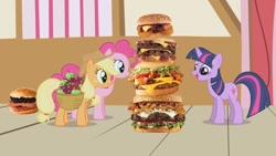 Size: 1280x720 | Tagged: safe, artist:heyitshayburgers, edit, edited screencap, screencap, applejack, pinkie pie, twilight sparkle, earth pony, pony, unicorn, applebuck season, season 1, burger, cheeseburger, food, hamburger, spam oreo burger, western bacon cheeseburger