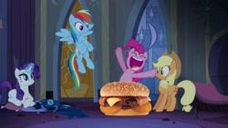 Size: 1280x720 | Tagged: safe, artist:heyitshayburgers, edit, edited screencap, screencap, applejack, pinkie pie, rainbow dash, rarity, castle mane-ia, burger, cheeseburger, food, hamburger, western bacon cheeseburger