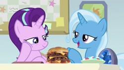 Size: 1280x720 | Tagged: safe, artist:heyitshayburgers, edit, edited screencap, screencap, starlight glimmer, trixie, pony, unicorn, a horse shoe-in, burger, cheeseburger, female, food, hamburger, mare