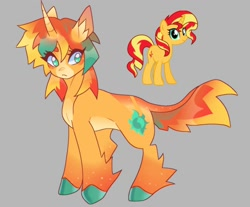 Size: 1498x1240   Tagged: safe, alternate version, artist:nakkipng, sunset shimmer, pony, unicorn, equestria girls, alternate hairstyle, coat markings, colored hooves, ear fluff, facial markings, gray background, horn, leg fluff, pale belly, redesign, simple background, snip (coat marking), solo