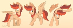 Size: 1200x468 | Tagged: safe, artist:kaylerustone, oc, oc only, oc:kayle rustone, pegasus, pony, clothes, cowboy hat, flying, hat, kicking, looking back, looking down, looking up, male, open mouth, scarf, stallion, wings